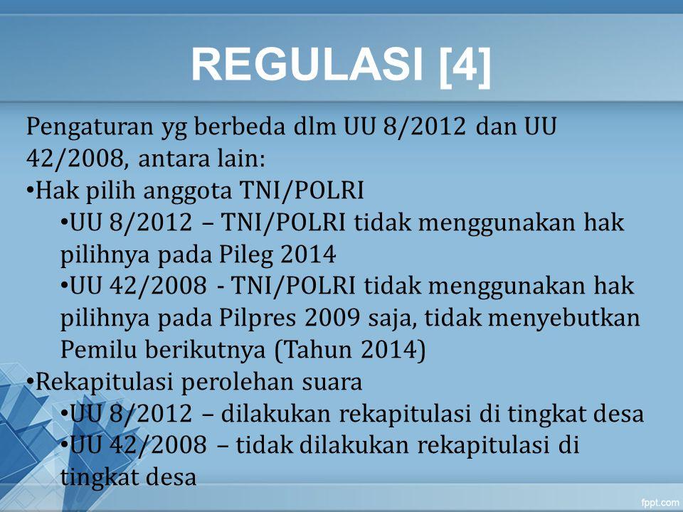 REGULASI [4] Pengaturan yg berbeda dlm UU 8/2012 dan UU 42/2008, antara lain: Hak pilih anggota TNI/POLRI.
